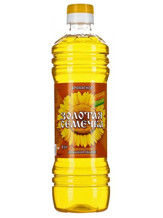 Масло Золотая семечка подсолнечное нерафинированное ароматное, 0,5л